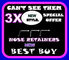 "3x Clear Nose Stud/Ring  Half Ball Retainers-THIN 22g BEST PRICE ""Cant See Them"""