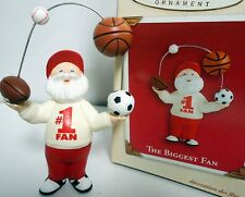 HALLMARK 2002 The Biggest Fan Football Basketball Sports Ornament New in Box