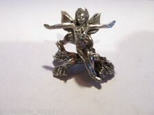 Pewter  Fairy On A Tree Stump Figurine