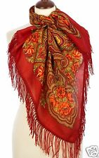 PAVLOVO POSAD WOOL WINTER SHAWL RUSSIAN CAPE HAT KNIT INFINITY SCARF with FRINGE