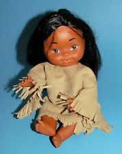 NATIVE AMERICAN BABY GIRL DOLL VINTAGE RUBBER TYPE HONG KONG 12""