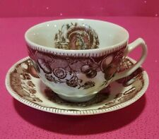 JOHNSON BROS HIS MAJESTY THANKSGIVING TURKEY TEACUP CUP & SAUCER ~Buy 1 or more!