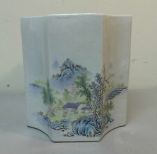 BEAUTIFUL CHINESE PORCELAIN OCTAGONAL SHAPED VASE w/ CALLIGRAPHY
