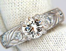 GIA certified 1.30ct. Round cut diamonds ring G/VVS-1 platinum classic & Wreath