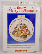 Beary Merry Christmas Crewel Embroidery Kit 1986 Dimensions Teddy Bear 8053 NIP