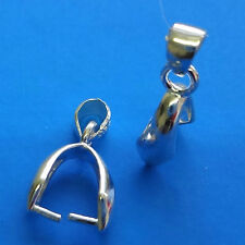 .925 Sterling Silver Pinch Bail 15x4mm Fit Swarovski Pendant
