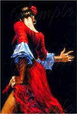 SPANISH DANCER FLAMENCO RED COSTUME DANCE toque de palmas CANVAS ART PRINT BIG