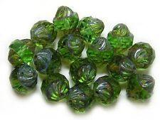 11x10mm Emerald Picasso Czech Glass Faceted Turbine Beads (8) #4808