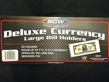 100 Deluxe Large Currency Holders Semi Rigid - Dollar Bill BCW Money Protectors