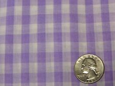 """Lavender White True Gingham Cotton Poly Quilting Fabric 44""""x 25"""""""