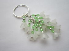 Keyring / Bag Charm - White Lucite Flowers & Pearls - Bunch of Snowdrops