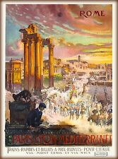 Rome Italy Paris Lyon Train via Nice France Vintage Travel Advertisement Poster