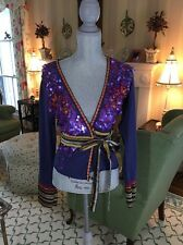 ANTHROPOLOGIE A Common Thread Wrap Top Cardigan Sz S Made in India Embroidery