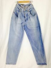 Forenza Mom Jeans. Vintage 1980's. Light Wash Button Fly Skinny W/Pleats. Size 8
