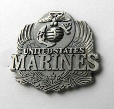 US MARINES USMC MARINE CORPS PEWTER LAPEL PIN BADGE 1 INCH
