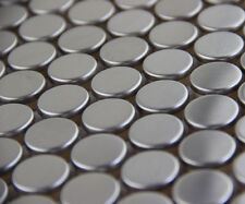penny round stainless steel metal mosaic tile kitchen backsplash bathroom shower