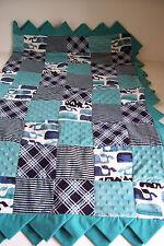 Handmade Patchwork Quilt Baby Crib Ocean Whale Nursery Bed Blanket Reversible