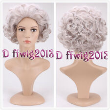 DELUXE GREY CURLY QUEEN ELIZABETH ROYAL OLD LADY GRANNY WIG COSPLAY WIG+wig cap
