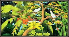 "Balinese Painting ""Cockatoos & Parrots in the Jungle"" COLOSSAL 41.5""h x 74.5"" w"
