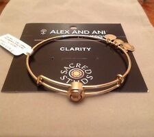 Alex and Ani Sacred Studs CLARITY Crystal Gold Expandable Bracelet Bangle Rare