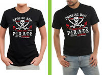 drinking rum before noon makes you a pirate not a alcoholic funny BLACK T SHIRT