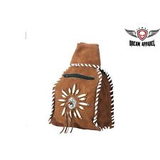 BIKER MOTORCYCLE GENUINE LEATHER Womens Brown Leather Backpack W/Zipper AC2049