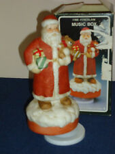 """Santa w/Bear wind-up musical Figurine """"Santa Claus is Coming To Town"""" Christmas"""