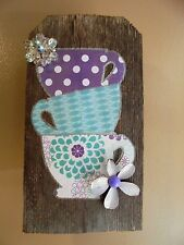 Vintage Jewelry/Barn Wood Tea Cup Wall Hanging Sign Kitchen Decor Rustic Wood L1