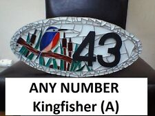 ANY NUMBER Kingfisher (A) Coloured Glass Mosaic House Number Plate Sign Plaque