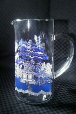 "Vintage Johnson Brothers WILLOW BLUE 44oz Glassware 8"" Pitcher, England"