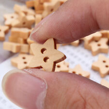100pcs 2 Holes Craft DIY Wooden Star Shape Buttons Scrapbook Sewing Cardmaking