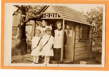 Real Photo Postcard RPPC - Two Boys Two Girls and Play House Fremont Ohio