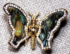 VINTAGE STUNNING GOLD TONE CLEAR & RED CRYSTAL & ABALONE BUTTERFLY PIN BROOCH