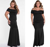 Ladies Black Plus Size Off Shoulder Fishtail Maxi Dress Prom Gown Evening 16 C44