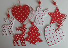 Scandi WOODEN CHRISTMAS DECORATION reindeer tree angel heart star SPOTS Nordic