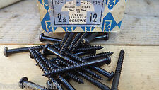 "20 x NETTLEFOLDS GKN 2 1/2"" x 12  BLACK JAPANNED ROUND HEAD WOOD SCREWS SLOTTED"