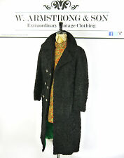 VTG 70's Black REAL ASTRAKHAN FUR Curly PERSIAN LAMB Double Breasted Coat UK 10