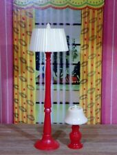 Renwal RED LAMP SET Vintage Tin Dollhouse Furniture Ideal Miniature Plastic 1:16
