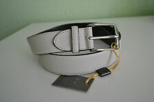 Canali Men's Textured Leather Belt Color:Ivory New Made in Italy Size 34