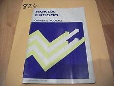 CR 1982 Honda EX5500 Generator Owner's Owners Manual