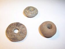3 pottery spindle whorls   Roman - Medieval