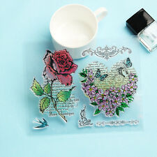 Scrapbook DIY Album Cards Transparent Silicone Rubber Clear Stamps Rose Flower