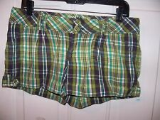 HURLEY Surf Classic Short surf shorts Green Plaid Size 7 Women's EUC