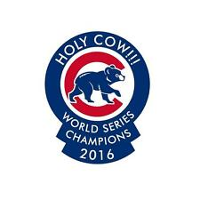 """2016 World Series Champions Chicago Cubs Holy Cow Auto Decal 6.5"""" X 5"""" Bl hat"""