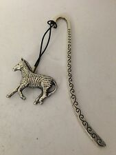 Zebra R116 English Pewter Charm on a Pattern Bookmark With Cord