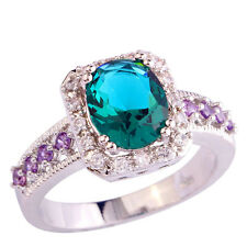 Oval Amethyst Green White Topaz Fashion Jewelry Men Silver Ring Size 9 Free Ship