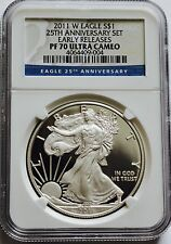 2011 W Proof Eagle 1 Oz Silver Dollar Coin PF 70 Ultra Cameo 25TH Anniversary