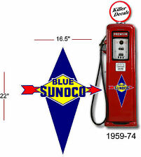 """(SUNOC-2) 22"""" 1959-74 SUNOCO GASOLINE DECAL FOR OIL CAN / GAS PUMP / LUBSTER"""