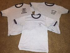Lot of 3 VTG 80s TRIBLEND rayon BUTTERY SOFT Heather Blue Ringer THIN T-shirts !