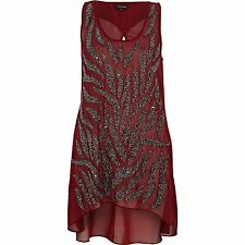 RIVER ISLAND RED BEAD BEADED BLOUSE VEST TUNIC LONG TOP MINI DRESS 6 8 34 36 2 4